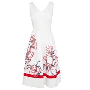 Karen Millen full skirted ribbon appliqué dress
